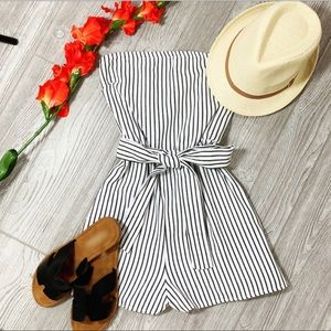 Black and white striped romper with tie